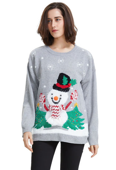 Picture of Shineflow Women's Reindeer Snowflake Midi Christmas Pullover Sweater Jumper