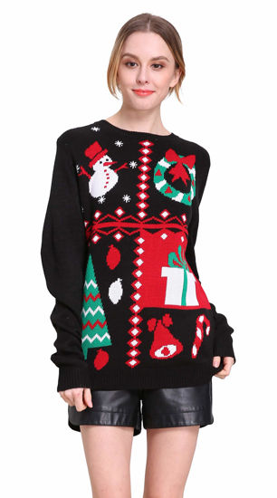 Picture of Women's Crew Neck Reindeer Snowman Knitted Christmas Sweater Xmas Jumper