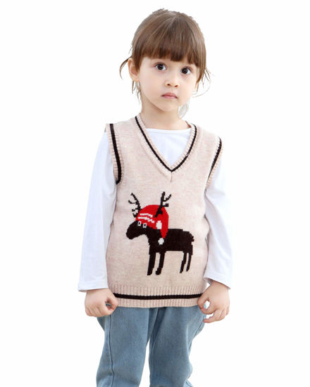 Picture of Shineflow Baby V-Neck Cashmere Reindeer Christmas Sweater Vest Waistcoat